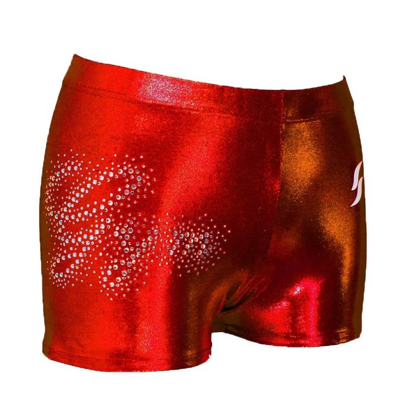 Short rouge métallisé strassé