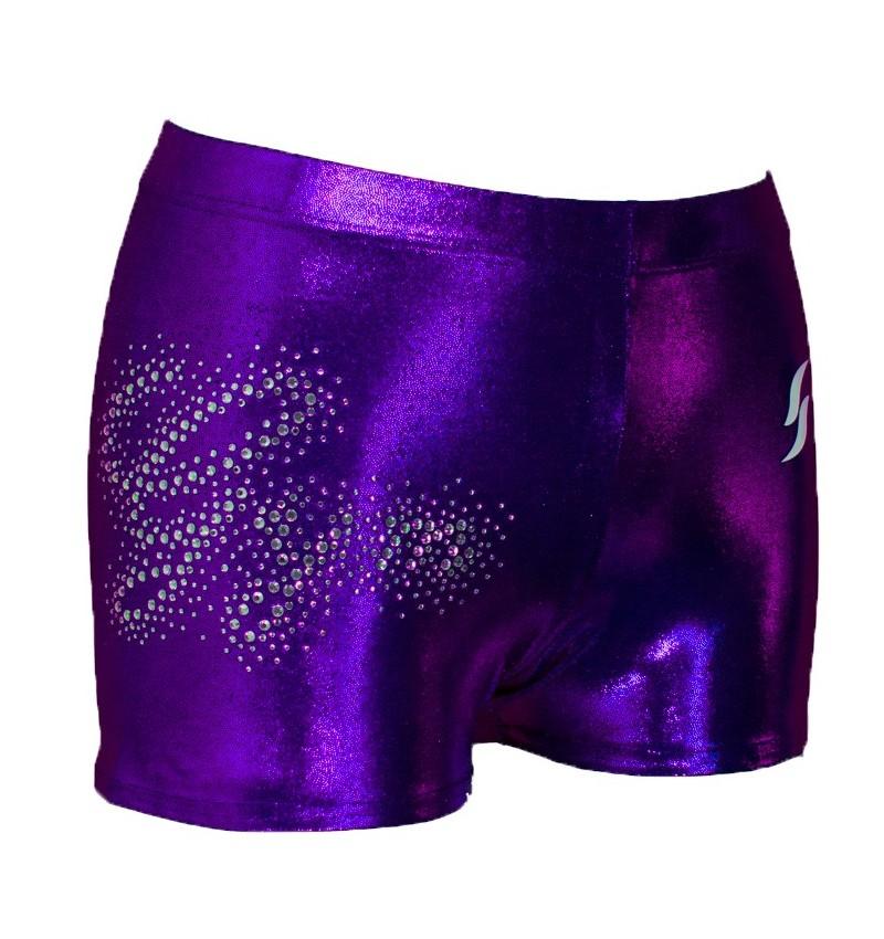 Short violet métallisé strassé