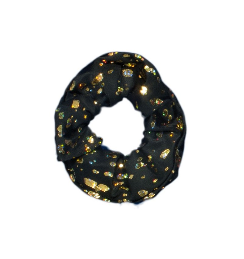 Chouchou noir métallisé or